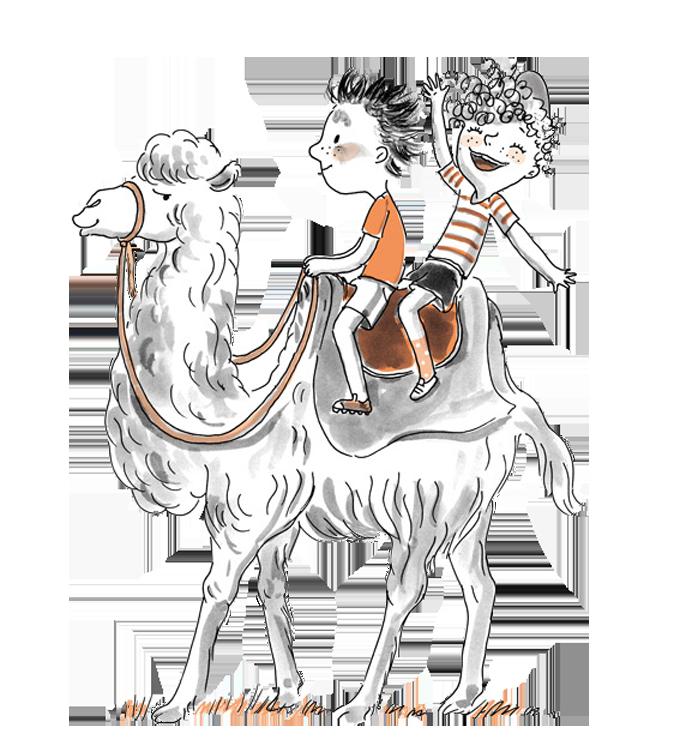 Kamel mit Kindern