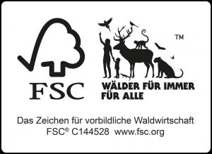 FSC Logo. Wälder für immer für alle.